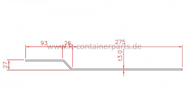 Door header, upper part, 3,0x93x26x275x2400