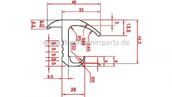 Tür-Profil-Gummidichtung M 13378/84 á 2,5 mtr