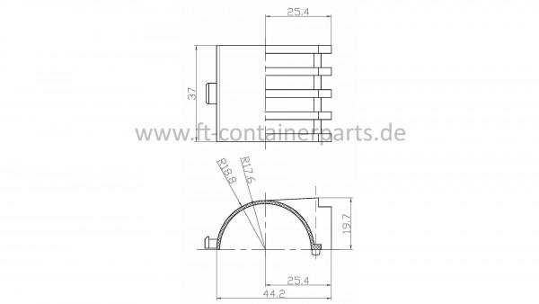PVC - Türstangen-Schelle 13518 klein 2 teilig