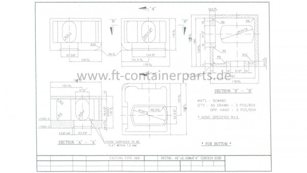 Corner Casting, 193 mm for pallet-wide container,
