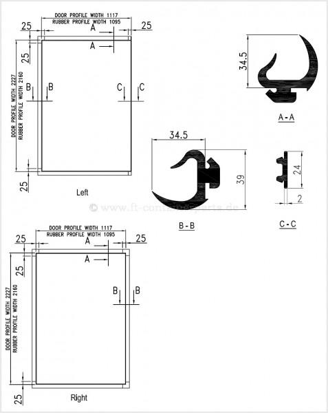 Tür-Profil-Gummidichtung-Rahmen Reefer, rechts
