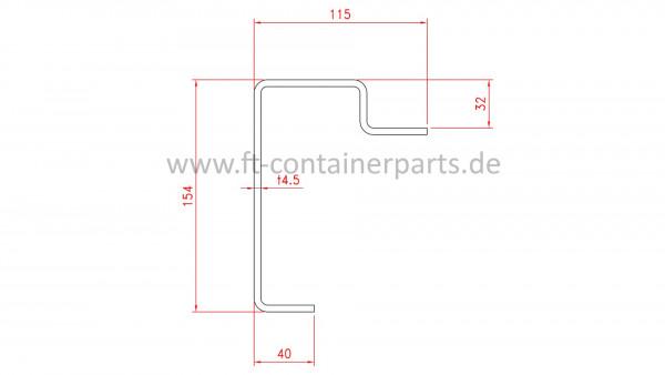 Front bottom rail, 4,5x115x154x2400