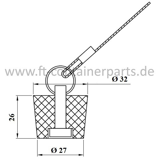 Rubber plug with ring+steel wire, 27x32x26
