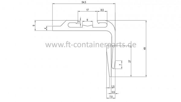 PVC-Reefer-Türprofil grau Hyundai PC-155-01