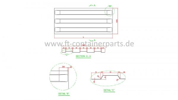 Roof panel, 3 corr, 2,0x1045x2356