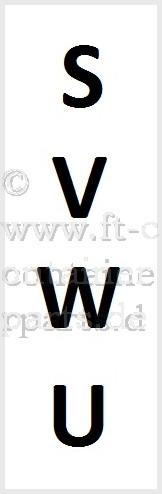 Aufkleber Prefix SVWU, schwarz/weiß, senkrecht