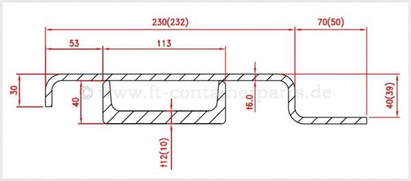 Rear corner post 6,0x70x39x230x2400&12x113x40x2353