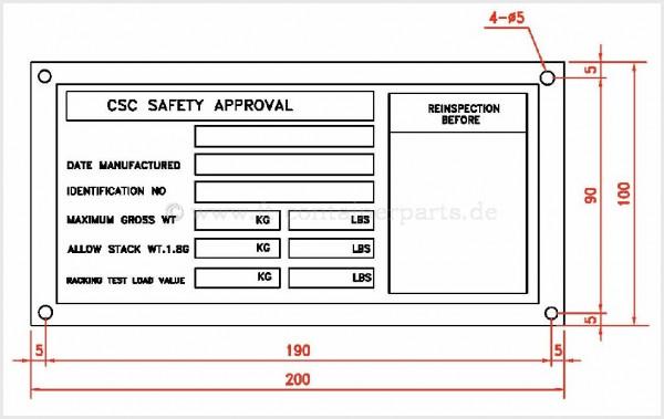 "CSC - Edelstahl - Schild ""CSC Safety Approval"""