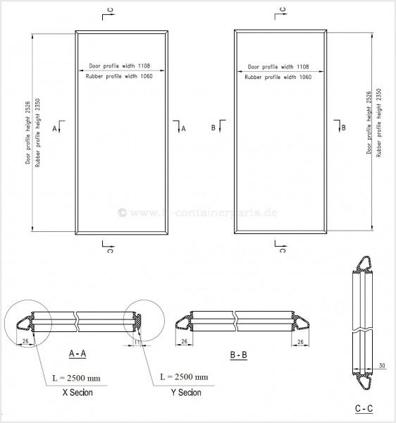 Tür-Profil-Gummidichtung-Rahmen HC, links