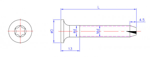 FT-Fußbodenschrauben Flat head Torx screw