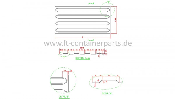 Roof panel patch, 4 corr, 2,0x1144x600
