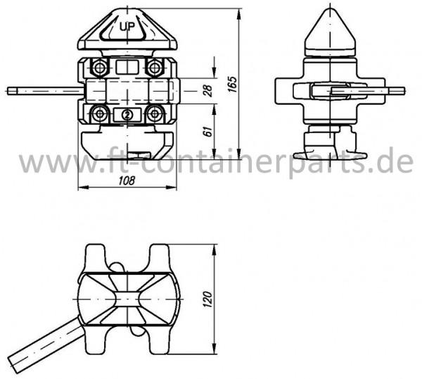 Standard Manual Twistlock, left hand locking