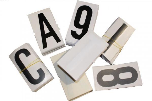 """Letter Decal """"E"""", black/white, 100 mm"""