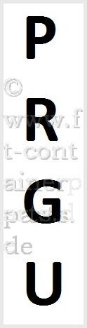 Aufkleber Prefix PRGU, schwarz/weiß, senkrecht